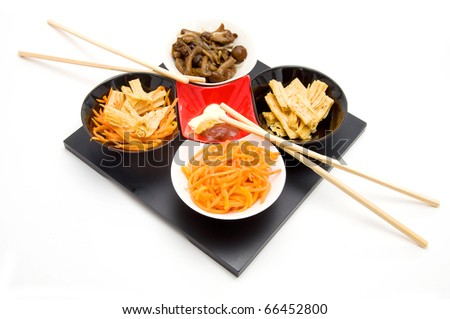 chinese or korean salad with sharp carrots, tofu bamboo and mushrooms