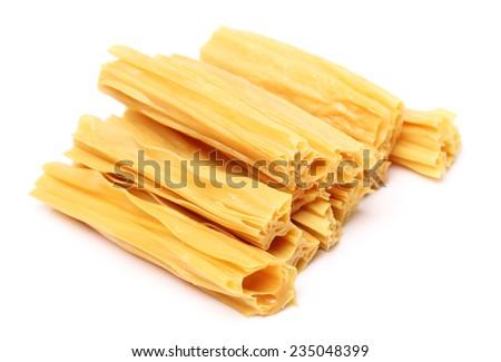 Chinese or korean Yuba (tofu bamboo) on white background - stock photo