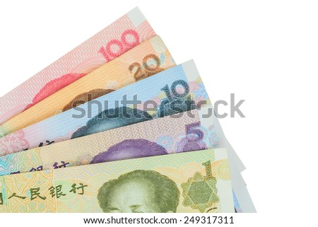 Chinese or Yuan banknotes money from China's currency, close up on white background - stock photo
