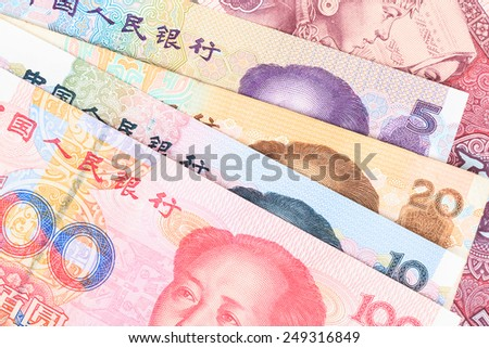 Chinese or Yuan banknotes money  from China's currency, close up view as background - stock photo
