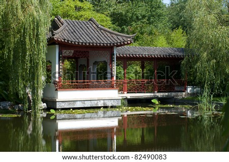 Chinese pagoda. Summer landscape. - stock photo