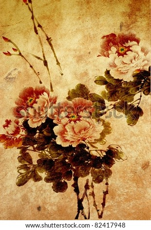 Chinese painting of flowers - stock photo