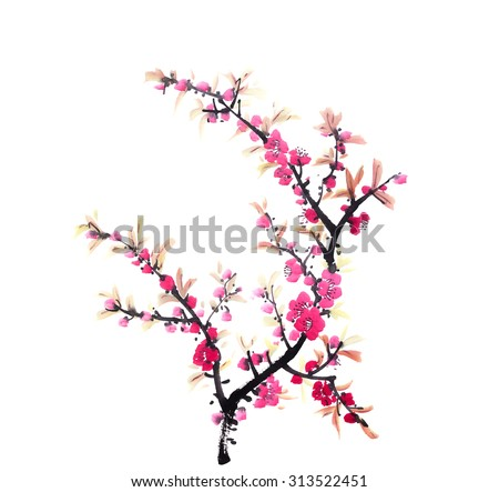 Chinese painting of flowers, peach blossom on white background - stock photo