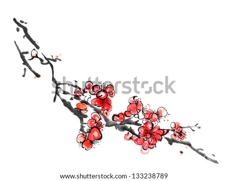 Chinese painting of flowers, plum blossom, on white background. - stock photo