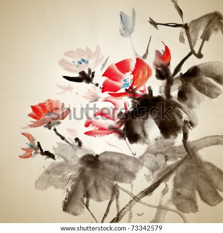 Chinese painting of morning glory, traditional artwork on art paper. - stock photo