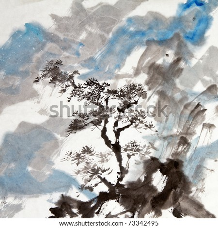 Chinese painting of traditional ink artwork of landscape with mountains and pine tree. - stock photo