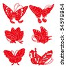 Chinese paper cut-butterfly - stock vector
