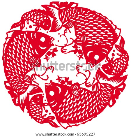 Chinese paper cutting - fish patterns