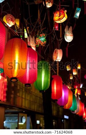 Chinese paper lantern at night in Beijing, China - stock photo