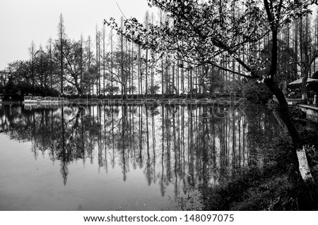 Chinese park at West Lake of Hangzhou - stock photo
