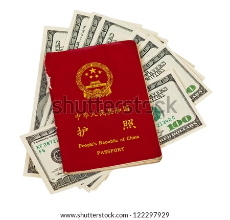 Chinese passport and money isolated on white background - stock photo