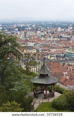 Chinese pavilion on Schlossberg over Graz, Europe - stock photo