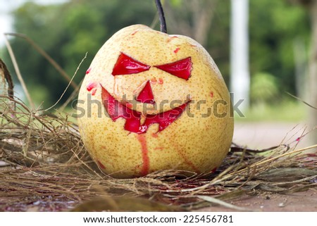 Chinese pear for halloween on hay - stock photo
