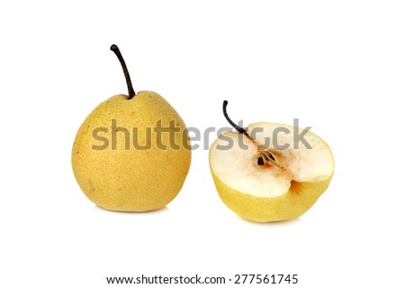 Chinese pear or Nashi pear with stem on white background - stock photo