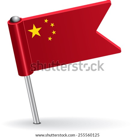 Chinese pin icon flag. Raster version - stock photo