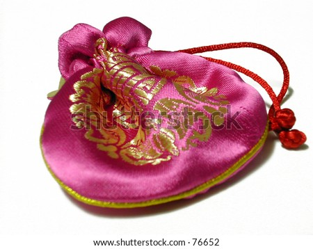 chinese pink pouch - stock photo