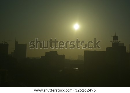 chinese pollution haze - stock photo