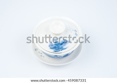 Chinese porcelain tea cup on white background