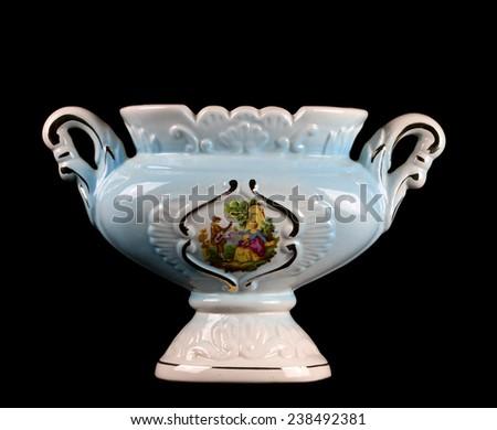 Chinese Porcelain Vase On black Background - stock photo
