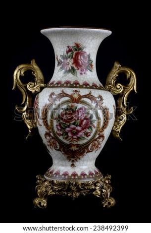 Chinese Porcelain Vase On black Background. - stock photo