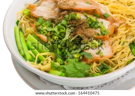 Chinese pork barbecue with noodle