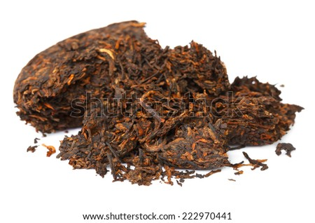 Chinese puer tea isolated on a white background - stock photo