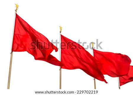 Chinese red flags, Tiananmen square, Beijing, China - stock photo