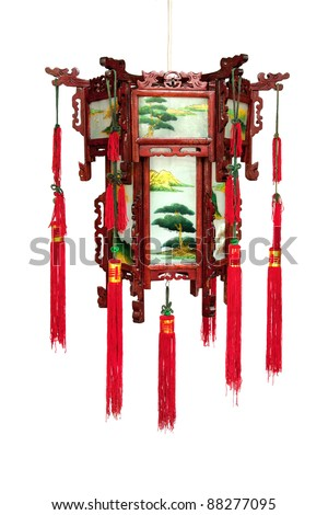 Chinese red lantern, isolated - stock photo
