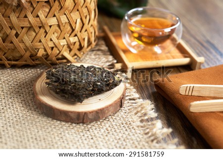 Chinese red tea from Yunnan province of China in the table - stock photo