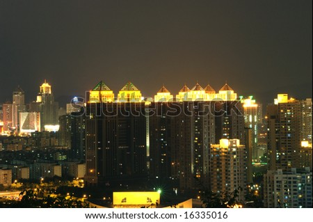 Chinese residential area by night. Shenzhen city, Guangdong province.