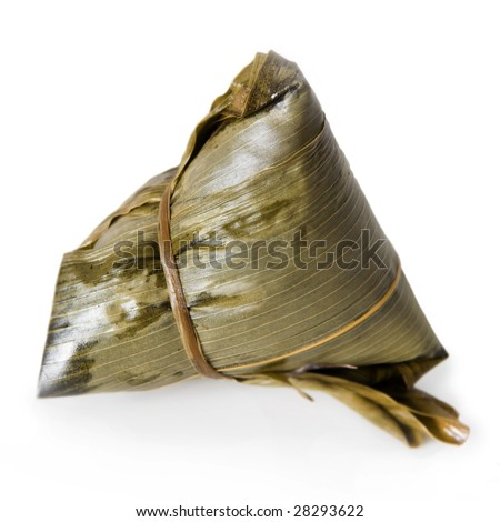 Chinese Rice Dumpling on white background. - stock photo