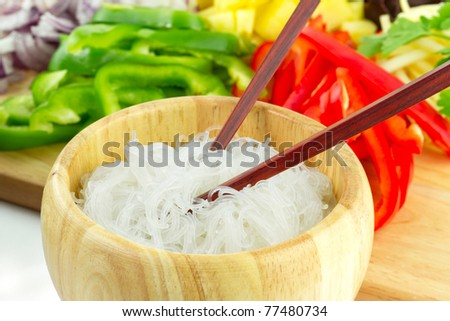 Chinese rice noodles with vegetable ingredients - stock photo