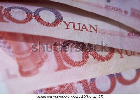 Chinese RMB bills close up - stock photo