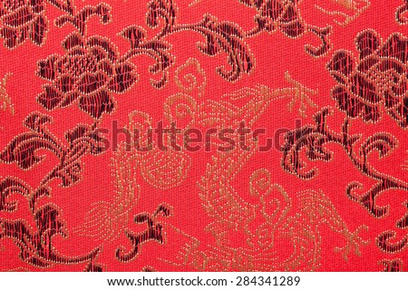 Chinese's style red cloth, dragon and flower pattern - stock photo
