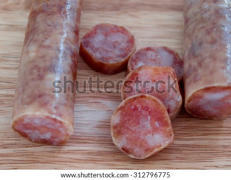 Chinese sausage, Chinese sausage Sweet, salty seasoning - stock photo