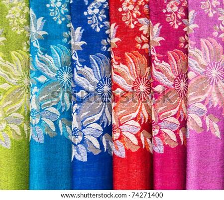 Chinese scarfs - stock photo