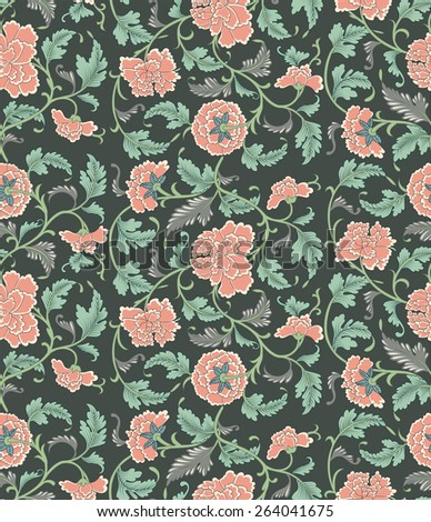 Chinese seamless floral pattern - stock photo
