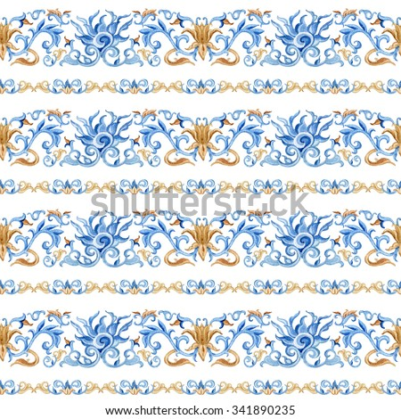 Chinese seamless pattern. Hand painted illustrations on white background - stock photo