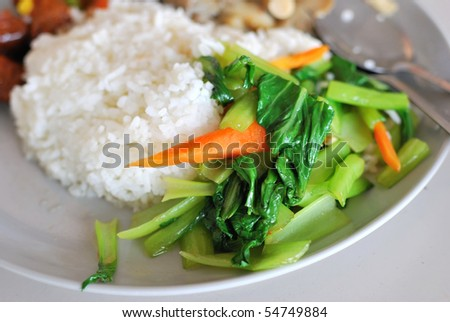 Chinese simple vegetable set meal with rice. Suitable for concepts such as diet and nutrition, healthy lifestyle, and food and beverage. - stock photo