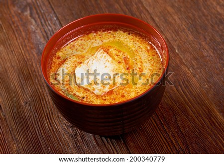 Chinese soup   with  smoked pork. close up - stock photo