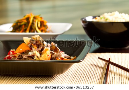 Chinese specialty with beef and vegetables - stock photo