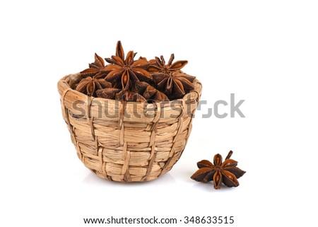 Chinese Star Anise, Star Anise, Star Aniseed, Badiane, Badian, Badian Khatai, Bunga Lawang, Thakolam, herbs have medicinal properties. - stock photo