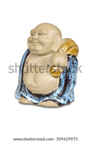 Chinese statue of Happy Buddha isolated with clipping path. - stock photo