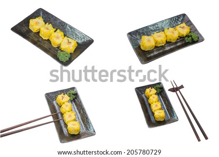 Chinese Steamed Dumpling on plate isolated on white background - stock photo