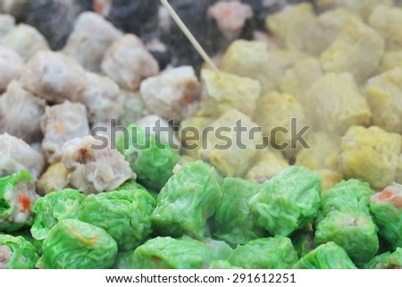 Chinese steamed pork and shrimp dumplings - stock photo