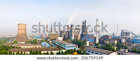 Chinese steelworks  panoramic view in the daytime  - stock photo