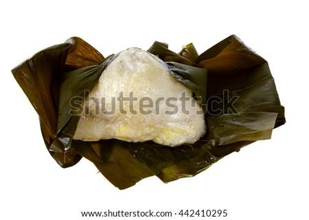 Chinese Sticky Rice Dumpling on White Background - stock photo