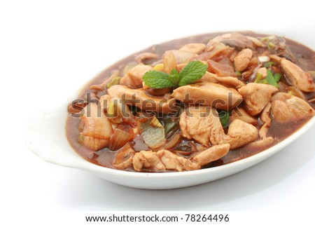Chinese Stir Fried Chicken Breast isolated on White
