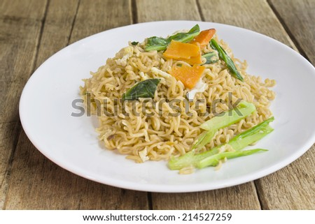 chinese stir-fried noodles on table