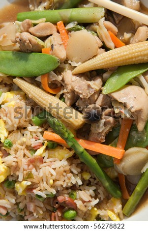 chinese stir-fry and ham fried rice close-up - stock photo